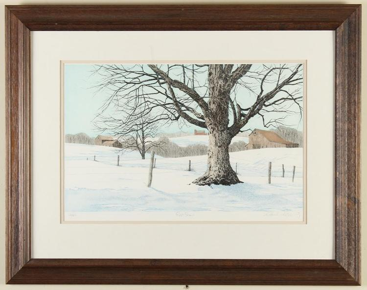 CAROL COLLETTE - FIRST SNOW - Hand colored etching in nine colors showing artist''s interpretation of