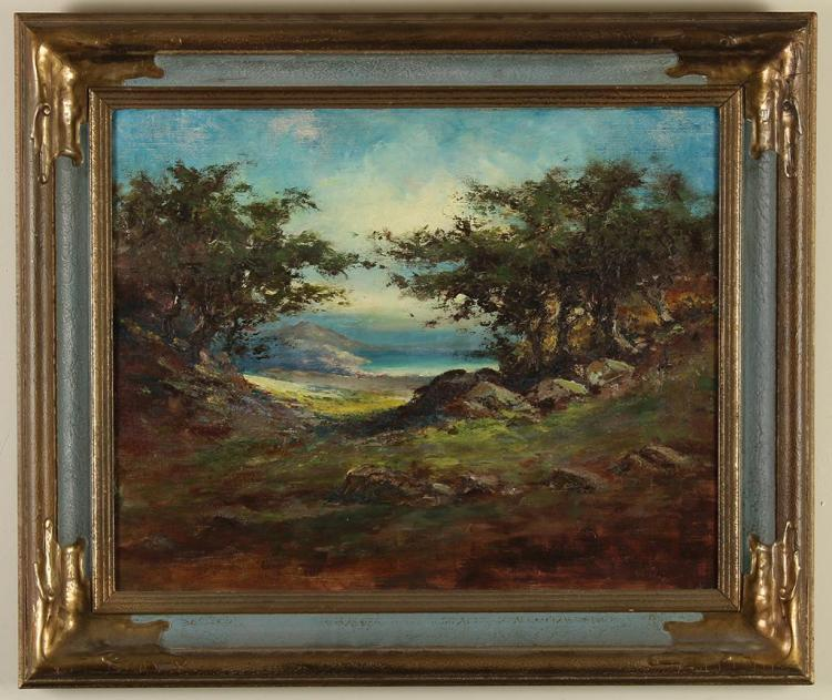 ATTRIBUTED TO ANNETTE HEALD-HAMILTON - LANDSCAPE WITH OCEAN - Oil on canvas landscape with a clearing of trees leading to an expanse...