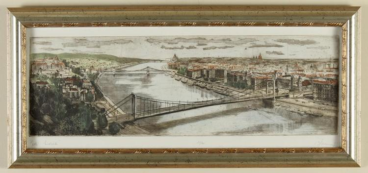 ARTIST SIGNED - CENTRAL BRIDGE - Color lithograph of engraving on thick paper