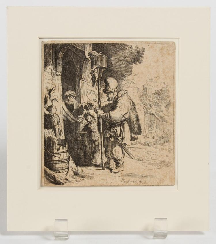 REMBRANDT HARMENSZOON VAN RIJN (1606-1669, Netherlands) - RATCATCHER - Black and white etching of a man holding a basket on a pole b...