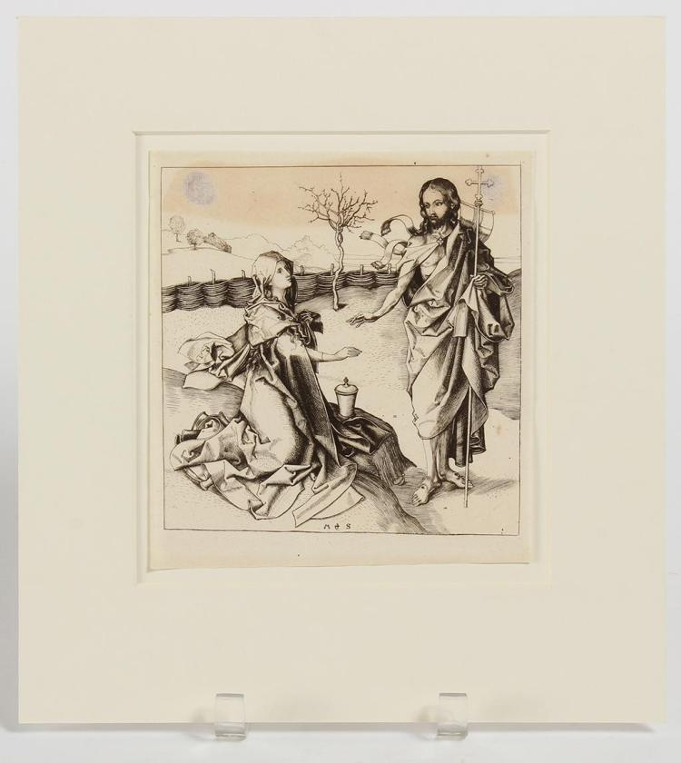 MARTIN SCHONGAUER (1435-1491, Germany) - NOLI ME TANGERE - 15th Century engraving depicting Christ appearing to Mary Magdelene