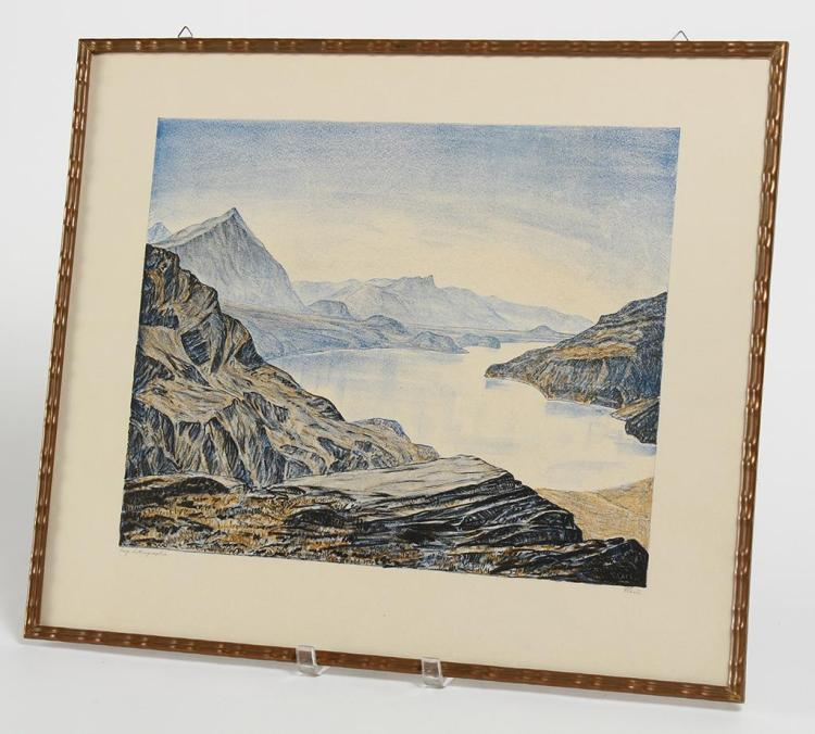 ALFRED GLAUS (1890-1971, Switzerland) - THUNERSEE MIT NIESEN - Color lithograph image depicting landscape view of Swiss river and mo...