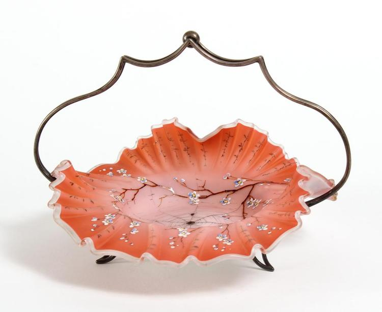 VICTORIAN RUFFLED BRIDES BASKET - Peach colored ruffled art glass basket with enamel detail and painted black spider web with spider...