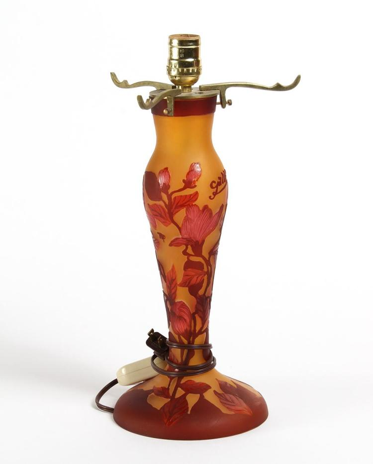 GALLE STYLE REPRODUCTION CAMEO GLASS LAMP BASE - With saffron ground cut with ruby shaded hibiscus flowers and foliage. Has Galle si...
