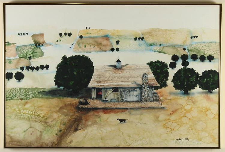 MIKE SMITH (1942-, Vancouver) - BLACK LABS AND LEONARD ROCK - Watercolor scene of a single stone house in a stylized farmland with b...