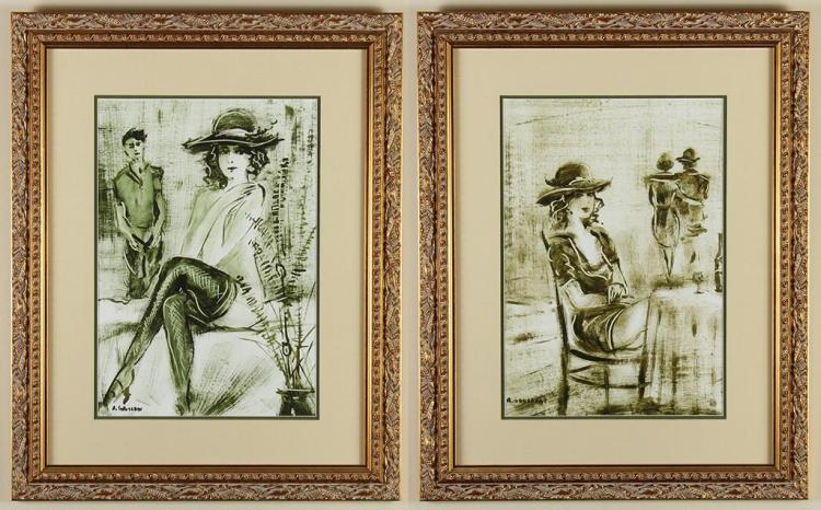 ANATOLIJ GOUSAROV (1959-, Russia) - TWO PORTRAITS OF WELL DRESSED WOMEN - Two separate drypoint etchings of seated women in fashiona...