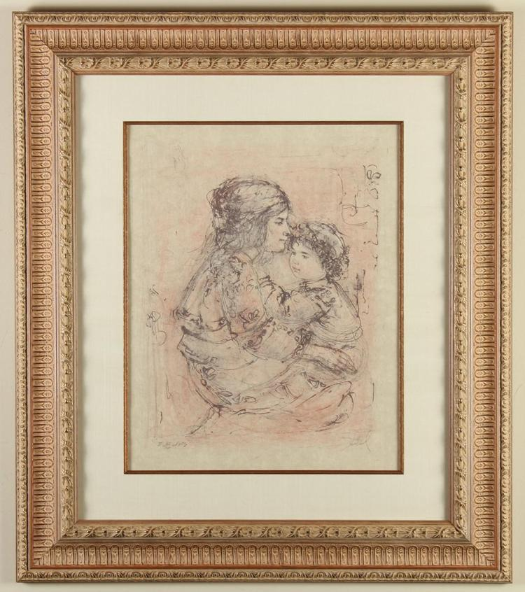 EDNA (HIBEL) PLOTKIN (1917-2015, MA) - MOTHER AND CHILD (B/W) - Black and white lithograph of a mother holding her child in her arms