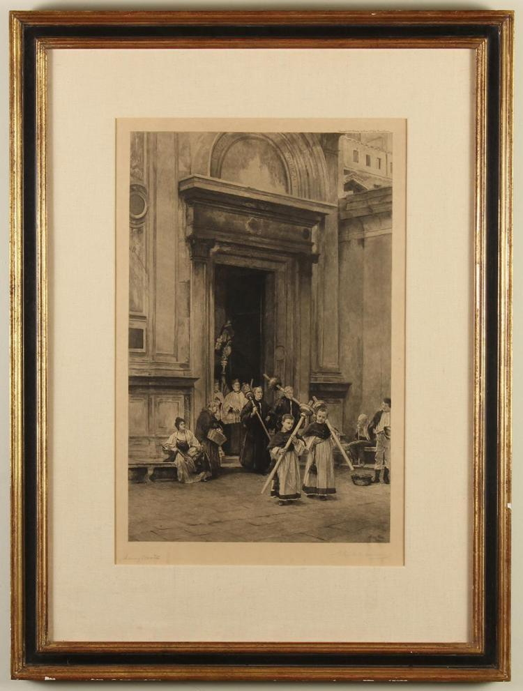 HENRY WOODS (1846-1921, UK) - HOLY PROCESSION - 19th Century engraving on paper of altar boys, priests and other church figures exit...