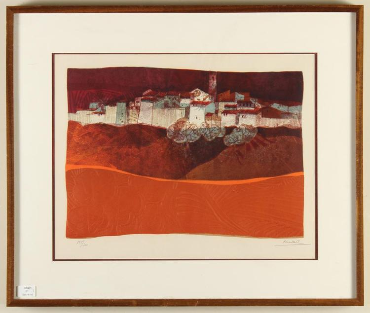 ALVAR SUNOL MUNOZ-RAMOS (1935-, Spain) - EXTERIOR CITY VIEW - Hand embossed water-colored lithograph showing a city viewed from just...