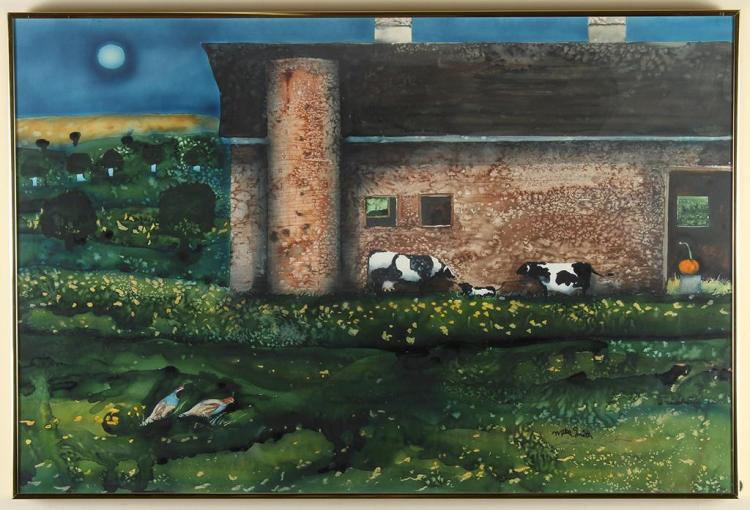 MIKE SMITH (1942-, Vancouver)- QUAIL AND CALF - Watercolor on paper scene of a large barn beneath a full moon, with cows outside and...