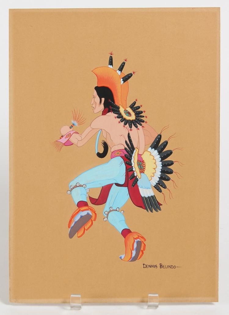 DENNIS BELINDO (1938-, OK) - DANCER - Acrylic on paperboard image of a Native American male in ceremonial attire - mid dance step