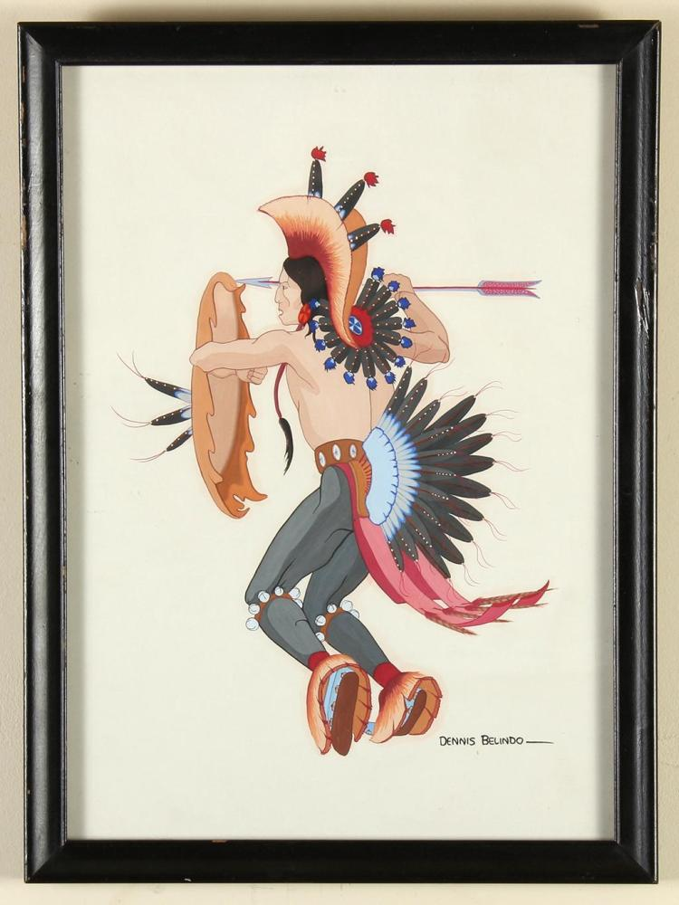DENNIS BELINDO (1938-, OK) - WARRIOR - Acrylic on thick paper image of a Native American male in warrior''s attire, holding spear and..