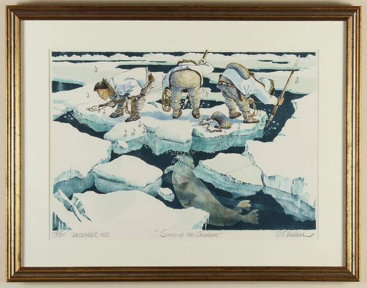RT WALLER - SONG OF THE OOGRUK - Color lithograph of Native Alaskans singing while hunting a walrus atop ice formations