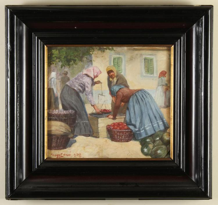 ERNO NAGY (20th Century, Hungary) - WOMEN AT MARKET - Oil on canvas scene of three women weighing produce at an outdoor marketplace