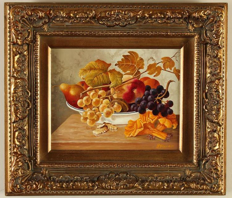 ANTON BERENDSEN (20th Century, Holland) - STILL LIFE - Oil on canvas still life of fruit, walnuts and chanterelle mushrooms on a woo...