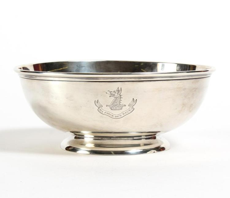 CRICHTON STERLING SILVER BOWL - Footed and with rolled rim, marked