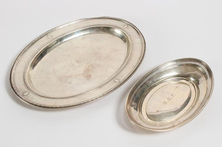 TWO STERLING SILVER OVAL TRAYS - First, small tray (9.5