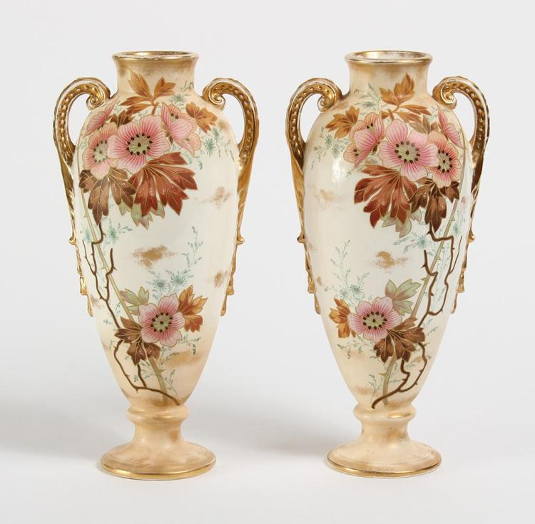 PAIR ROYAL BONN MEHLEM POTTERY URNS - Having dual beaded handles curled at neck and terminating into plumes