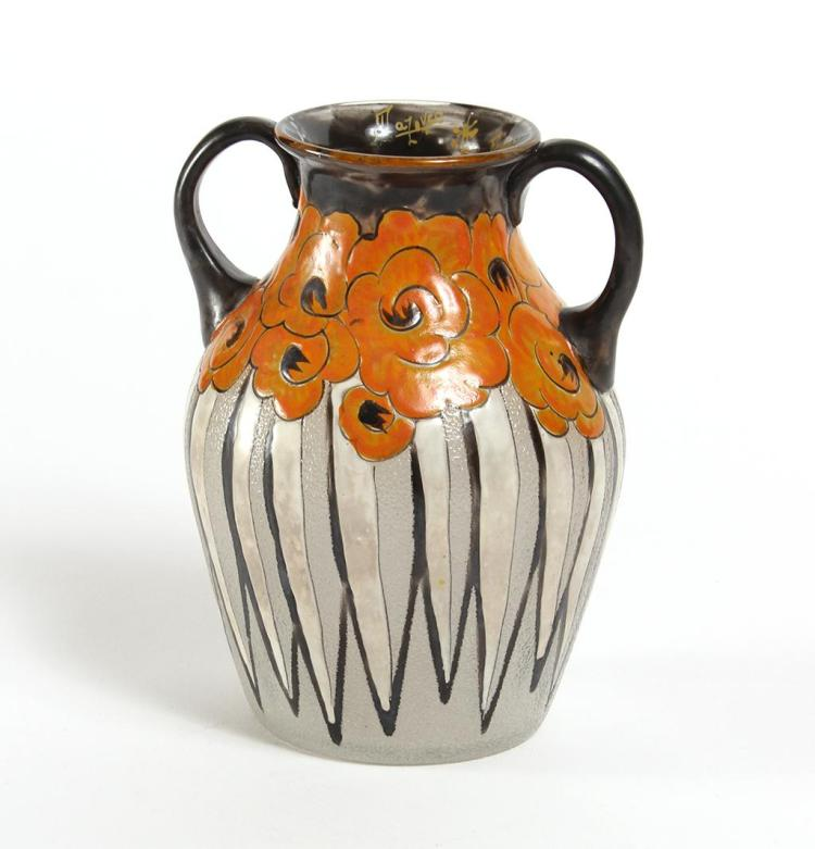 MAZOYER ART GLASS DECO VASE WITH ROSES - Enameled black on rim and handles, with orange roses decorating shoulders