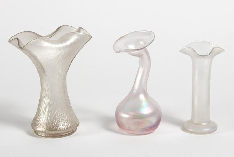THREE IRIDESCENT CLEAR ART GLASS VASES - Satin-textured with different degrees of iridescence