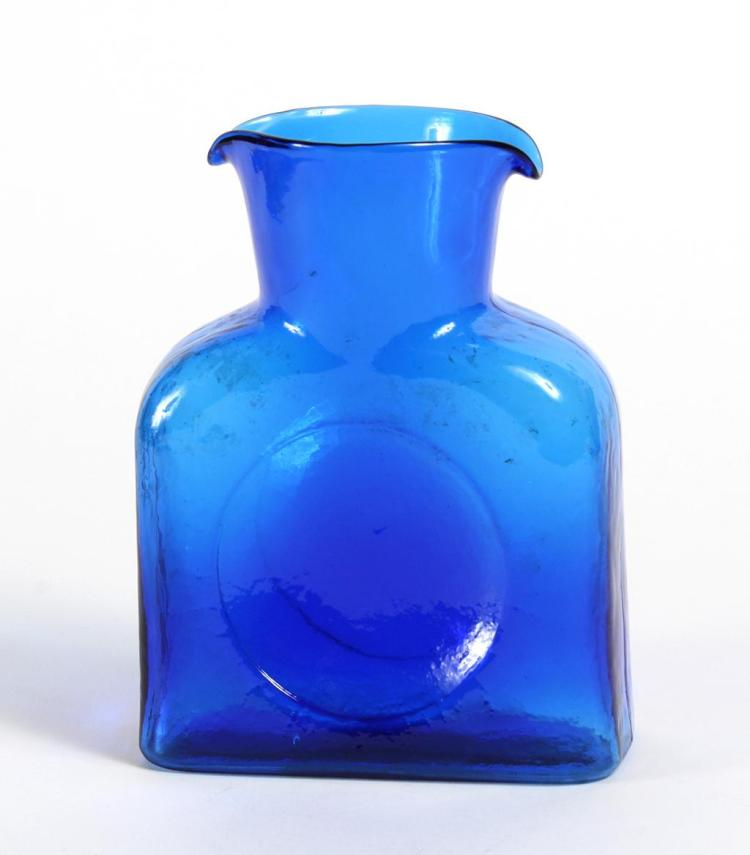 COBALT BLENKO DOUBLE SPOUT PITCHER - With domed shoulders, impressed center circles, and a ripple texture