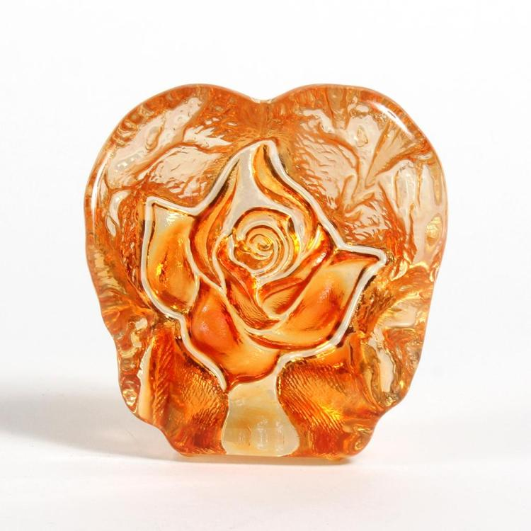 LUNDBERG / BUTTERFIELD SUNCAST ROSE PAPERWEIGHT - Clear, with iridescent orange on a reverse-cast ripple texture and center rose