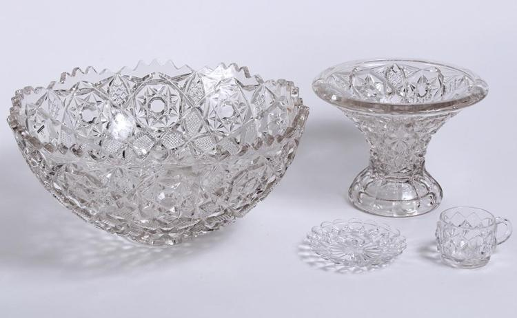PRESSED GLASS PUNCH BOWL, PEDESTAL, AND CUPS - The bowl 7