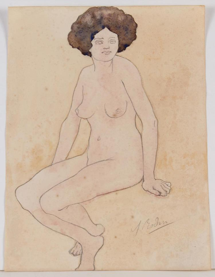 AUGUSTE RODIN (1840-1917, France) - NUDE STUDY I - Watercolor and pencil study of a nude woman