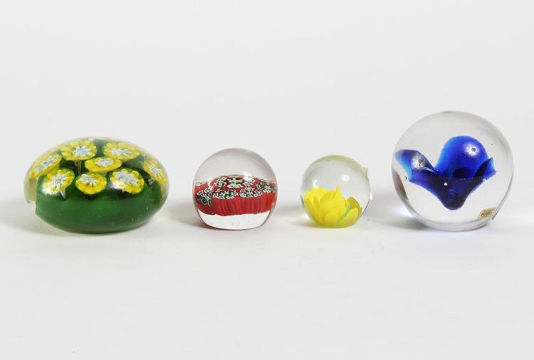 SET OF 4 PAPERWEIGHTS W/ KOSTA - Includes a Kosta Swedish dark cobalt blue flower in the center of transparent glass, a green and ye...