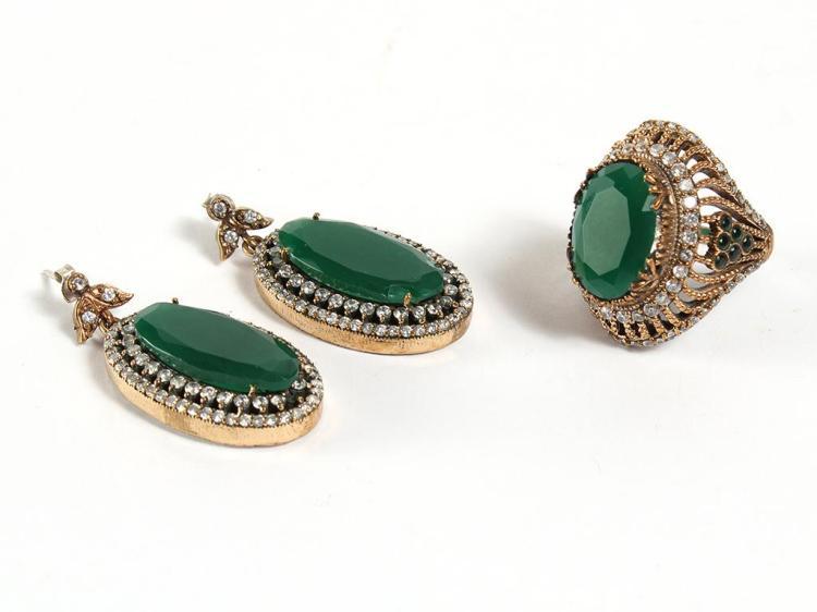 EMERALD & TOPAZ DROP EARRINGS & RING - The dangle earrings (1.5