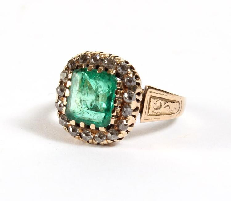 EMERALD & DIAMOND LADY''S RING - Square emerald, about 7 mm x 7 mm, is prong set within a tier of 18 small round european cut diamond..