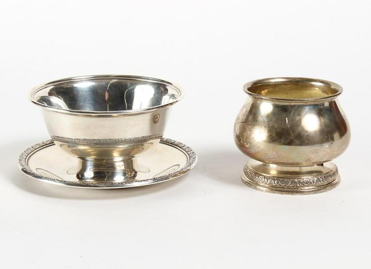 TWO STERLING SILVER VESSELS - The round bowl (3.75