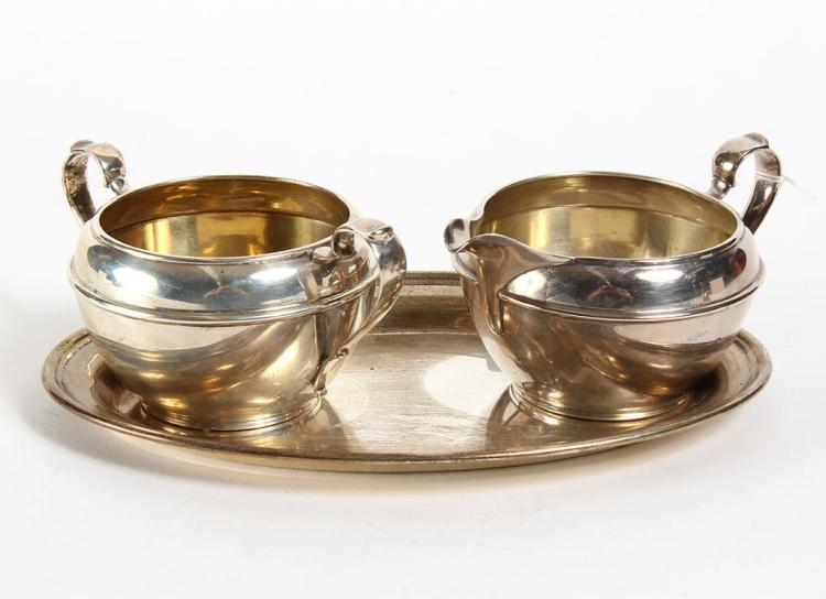 GEORG JENSEN STERLING SILVER UNDERPLATE WITH CREAM JUG & SUGAR BOWL - The sterling underplate is marked