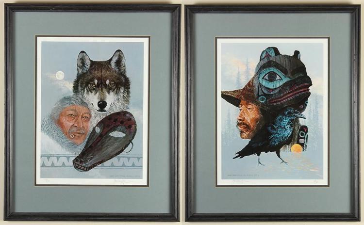 JON VAN ZYLE (1942-, AL) - NATIVE ARTIFACT PORTRAITS - Two photolithograph portraits of Native Alaskan men with various cultural obj...