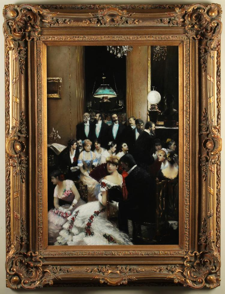 JANE CLARK - SOIREE GUESTS - Oil on canvas painting of well dressed patrons in a brightly lit banquet hall