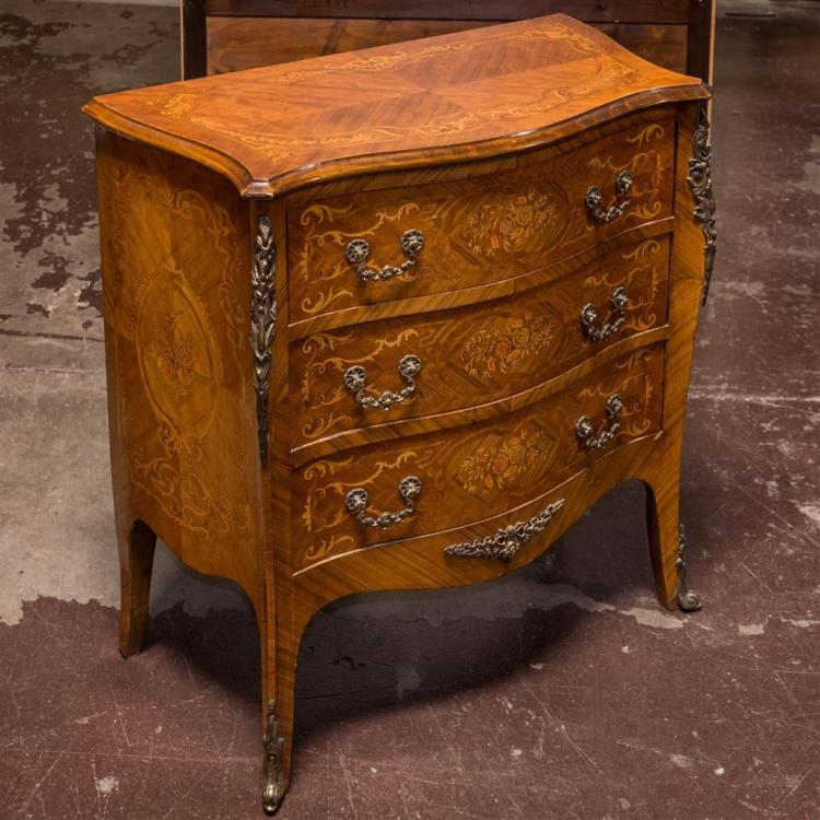 THREE-DRAWER COMMODE - Reproduction bow-front Provincial style with elaborate marquetry veneers, multitudinous ormolu-style mounts,...