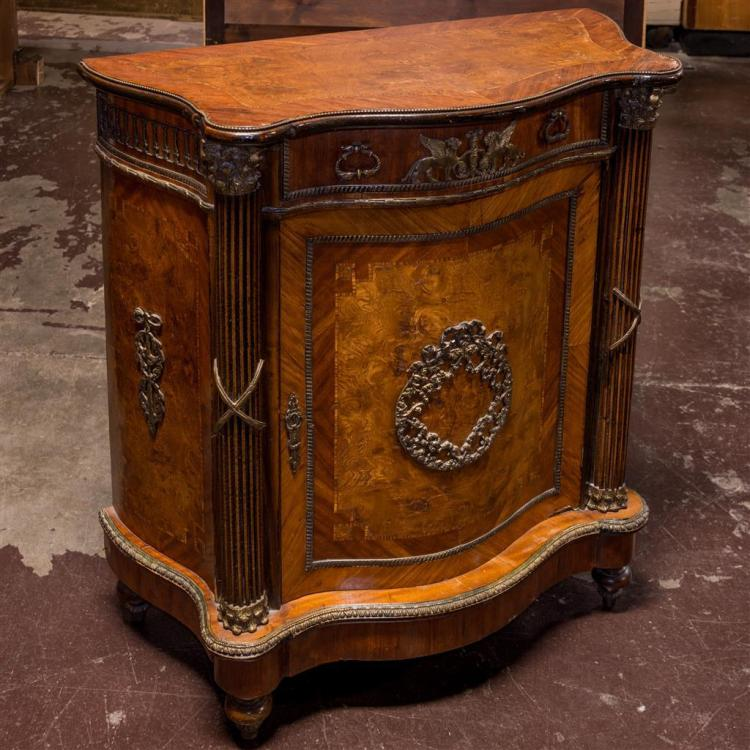 SALON CABINET - Reproduction serpentine front Italian Provincial style with marquetry style veneers, center access door with large c...