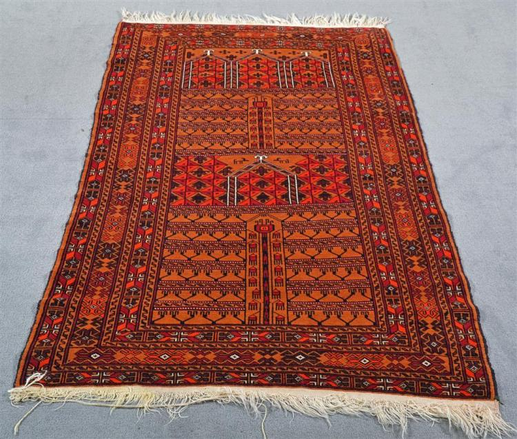 CARPET: HANDWOVEN AFGHANI TURKOMAN - All wool with directional design of multiple latch-hook devices on a copper toned field with pe...
