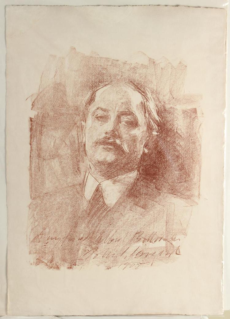 JOHN SINGER SARGENT (1856-1925, MA) - PORTRAIT OF ALBERT DE BELLEROCHE - Lithograph portrait of close friend of John Singer Sargent,...