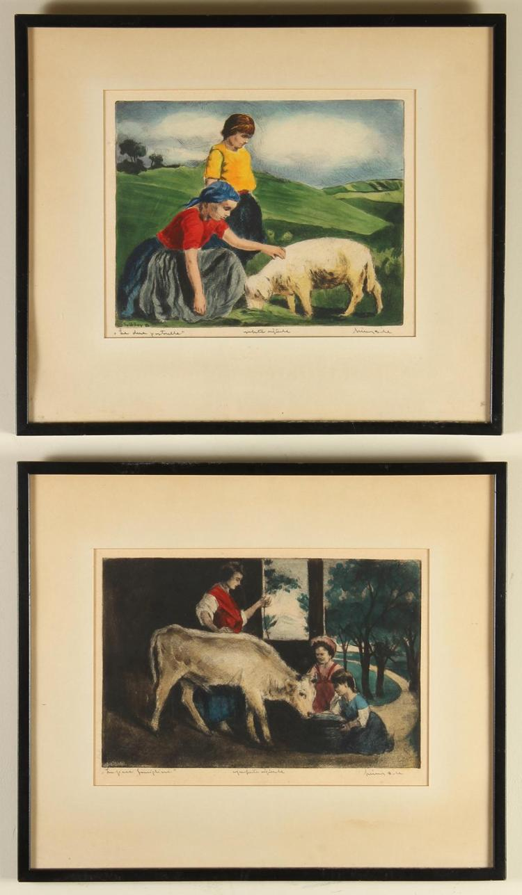 BELA SZIKLAY (20th Century, Hungary) - ANIMAL SCENES - Two color etchings in separate frames, each showing children interacting with...