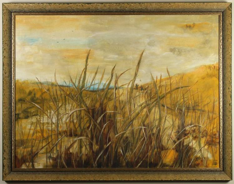 JOYCE (20th Century) - BRUSH VIEW - Oil on canvas scene of mostly brown arid landscape, with small views of water and children runni...