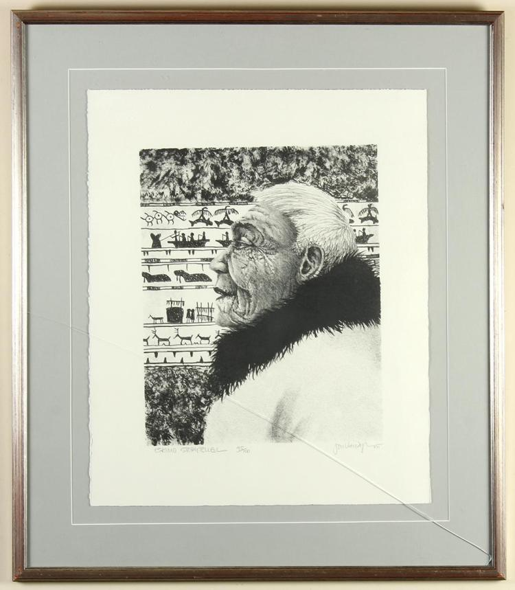 JON VAN ZYLE (1942-, AL) - ESKIMO STORYTELLER - Lithograph of a charcoal portrait featuring profile view of an older Native man with...