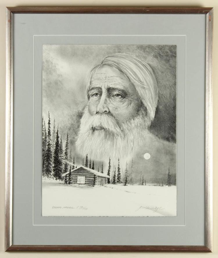 JON VAN ZYLE (1942-, AL) - DREAM MAKER - Lithograph portrait of an elderly man superimposed above a snowy cabin and landscape