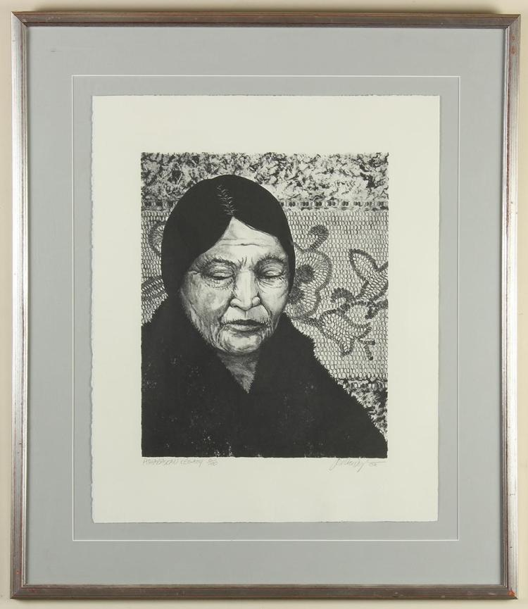 JON VAN ZYLE (1942-AL) - ATHABASKAN LEGACY - Lithograph portrait of an older woman with patterned mosaic in background