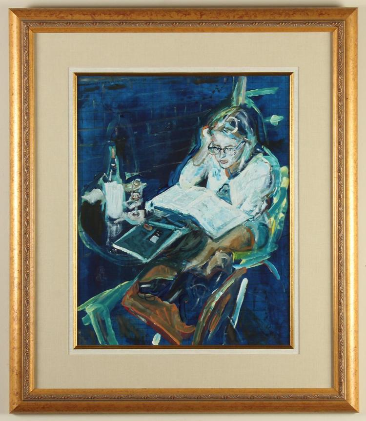 UNSIGNED - STUDYING WOMAN - Mixed media on canvas scene in blue tones showing a young woman sat outside a cafe with a large book ope...