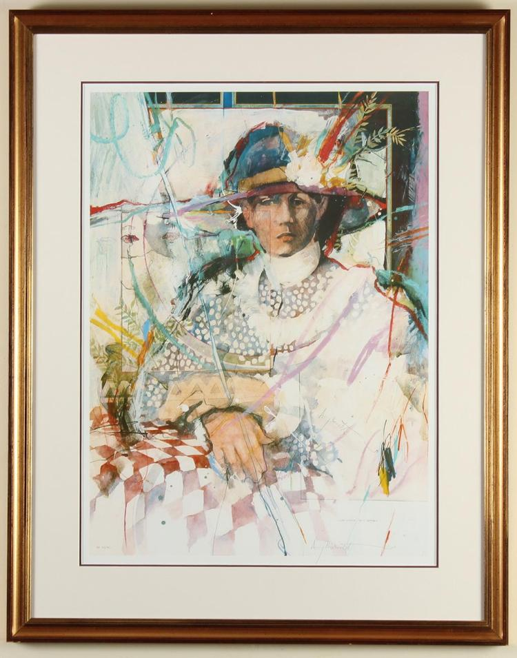 AMY BURNETT (1944-, WA) - TIME CIRCLE OF A WOMAN - Lithograph portrait of a woman with abstract decorations across entirety of image