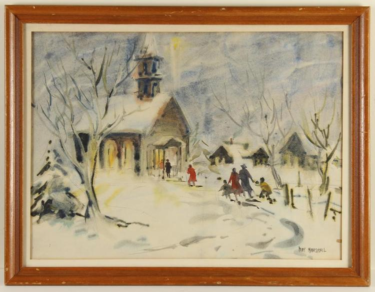 MAY MARSHALL (1902-1998, WA) - CHURCH SERVICE - Watercolor on paper scene of families entering a warmly lit church in a snow covered...