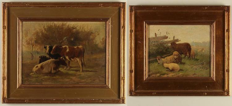 FRANK SELZER (1849-1916, MI) - FARM SCENES - A pair of oil on canvas paintings featuring livestock