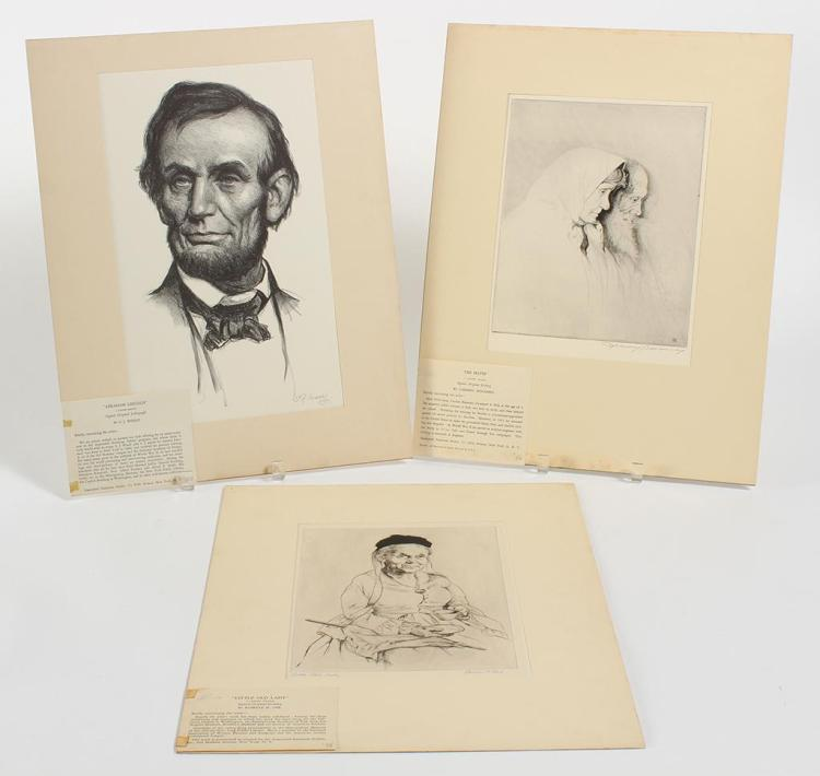 VARIOUS ARTISTS - THREE PORTRAITS - Collection of three pencil signed lithographs or etchings from different artists
