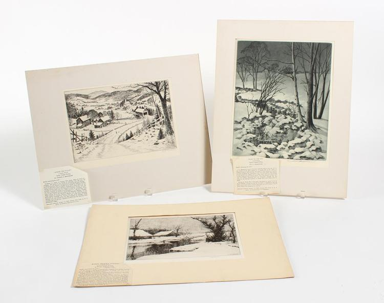 VARIOUS ARTISTS - THREE LANDSCAPES - Collection of three pencil signed etchings by different artists